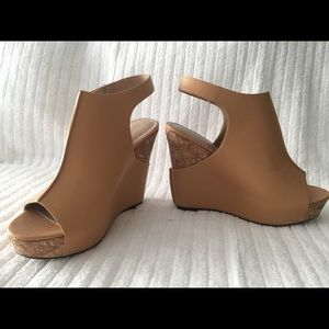 Charles David leather and cork wedges